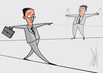 Businessmen on the tightrope