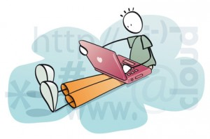 funny man working in the cloud