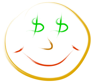 funny concept of happy face and dollar eyes