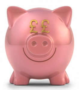 Piggy bank pound sterling. Clipping path included.