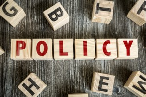 Wooden Blocks with the text: Policy